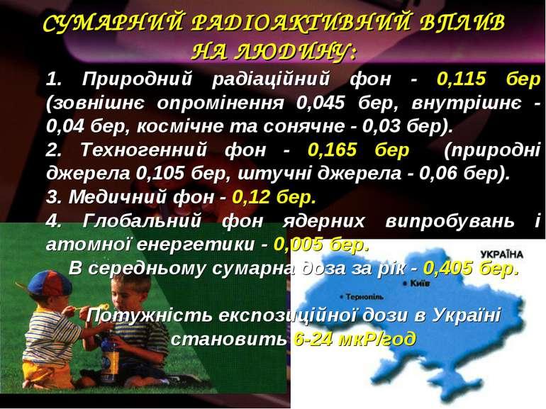 СУМАРНИЙ РАДІОАКТИВНИЙ ВПЛИВ НА ЛЮДИНУ: 1. Природний радіаційний фон - 0,115 ...
