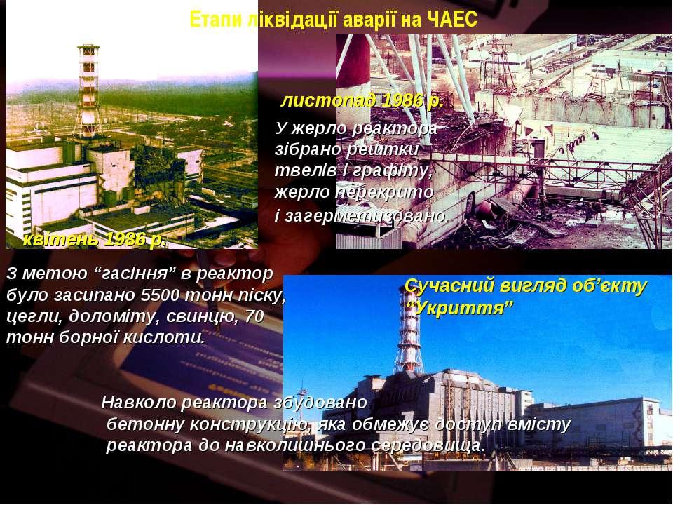 Етапи ліквідації аварії на ЧАЕС квітень 1986 р. листопад 1986 р. Сучасний виг...