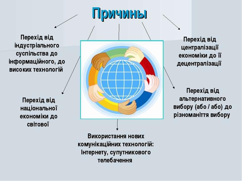 Причины Перехід від індустріального суспільства до інформаційного, до високих...