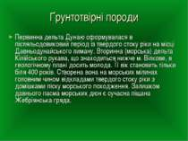 Ґрунтотвірні породи Первинна дельта Дунаю сформувалася в післяльодовиковий пе...