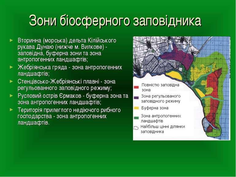 Зони біосферного заповідника Вторинна (морська) дельта Кілійського рукава Дун...