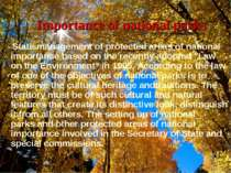Importance of national parks State management of protected areas of national ...