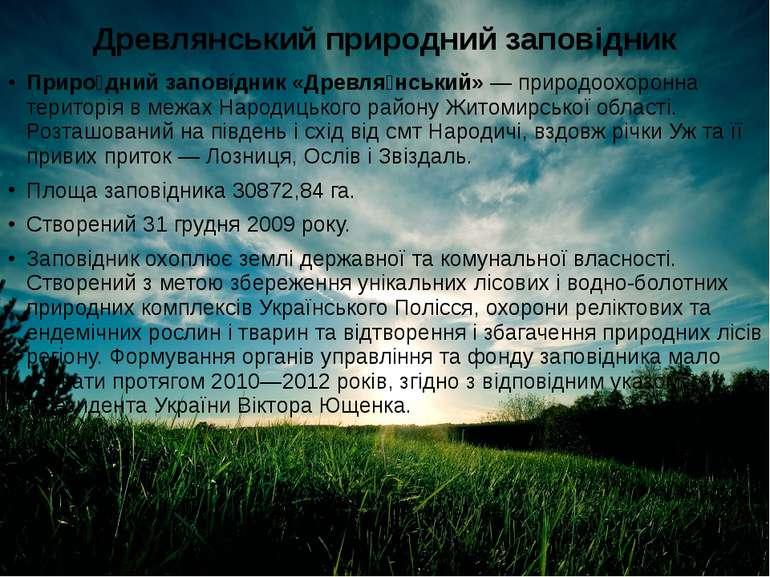Древлянський природний заповідник Приро дний заповíдник «Древля нський»—при...