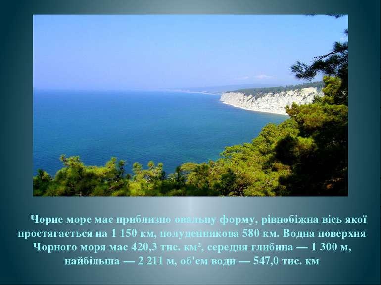 Чорне море має приблизно овальну форму, рівнобіжна вісь якої простягається на...