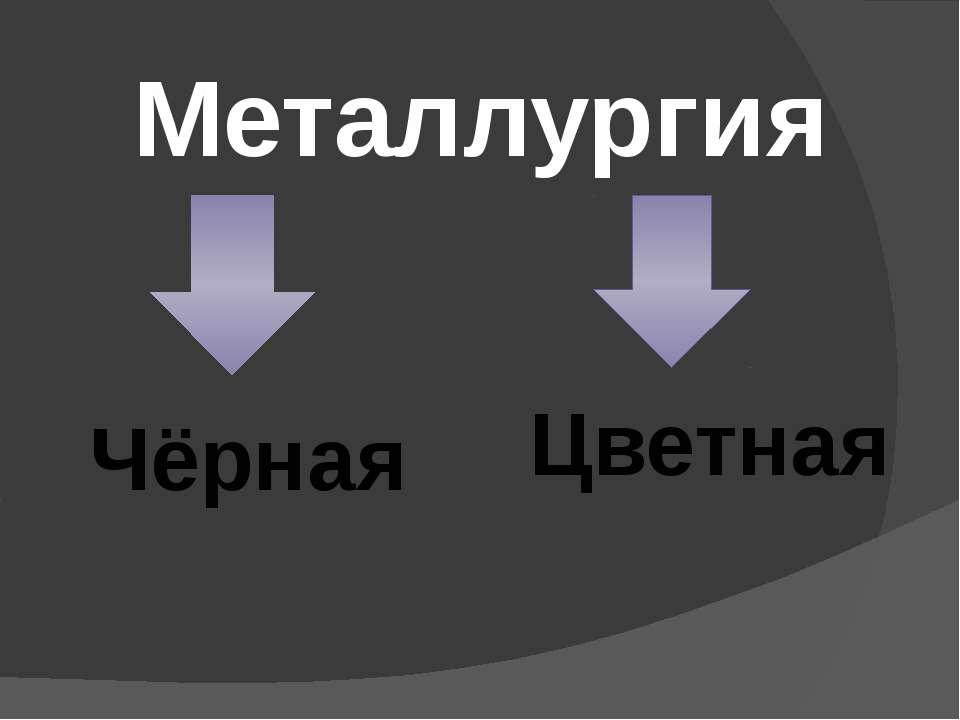 Металлургия Чёрная Цветная
