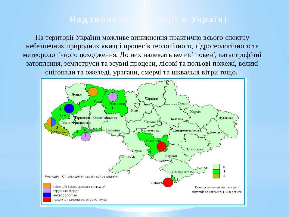Нa території України можливе виникнення практично всього спектру небезпечних ...