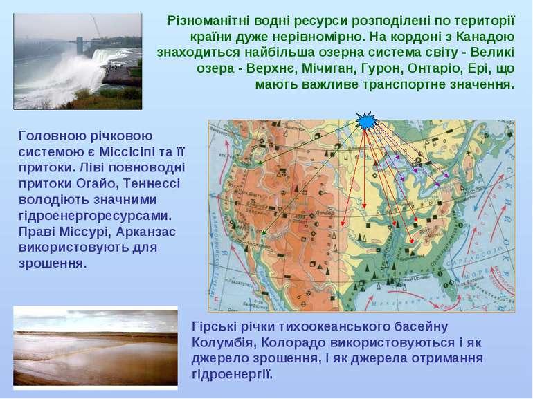 Різноманітні водні ресурси розподілені по території країни дуже нерівномірно....