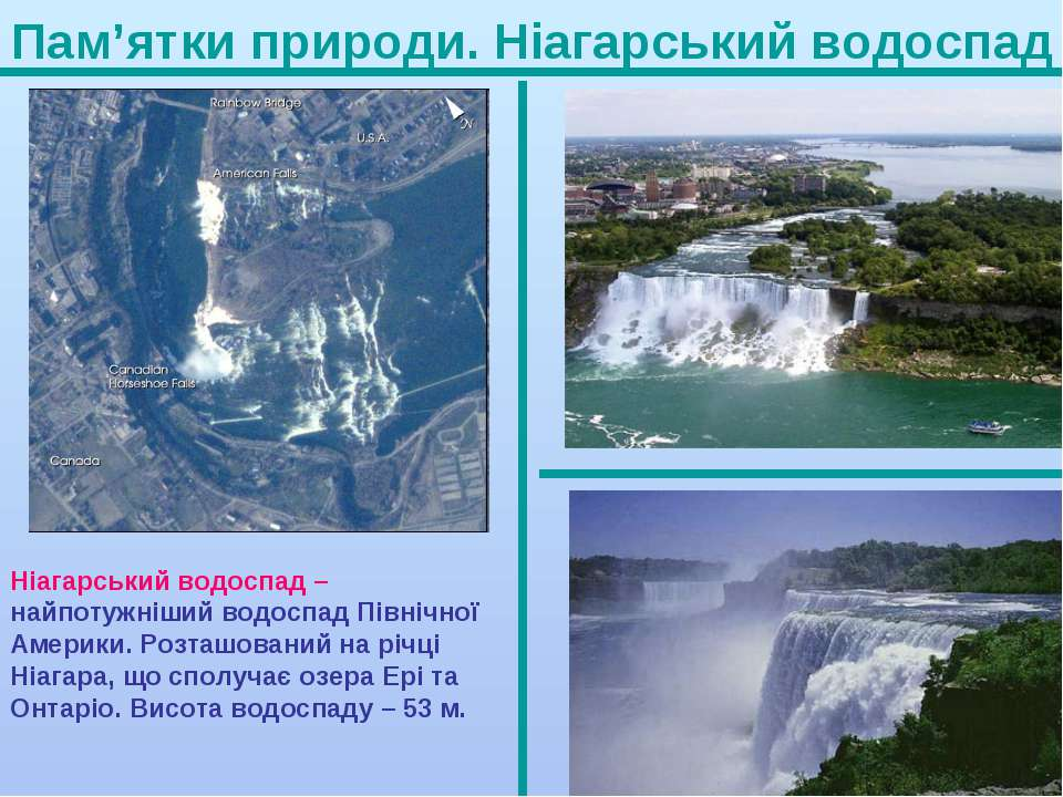 Пам'ятки природи. Ніагарський водоспад Ніагарський водоспад – найпотужніший в...