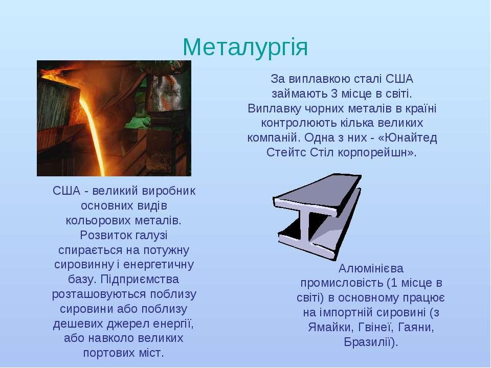 Металургія США - великий виробник основних видів кольорових металів. Розвиток...