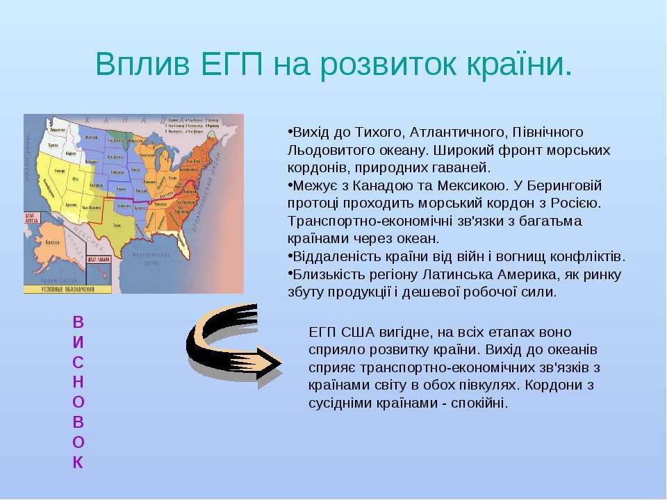 Вплив ЕГП на розвиток країни. Вихід до Тихого, Атлантичного, Північного Льодо...