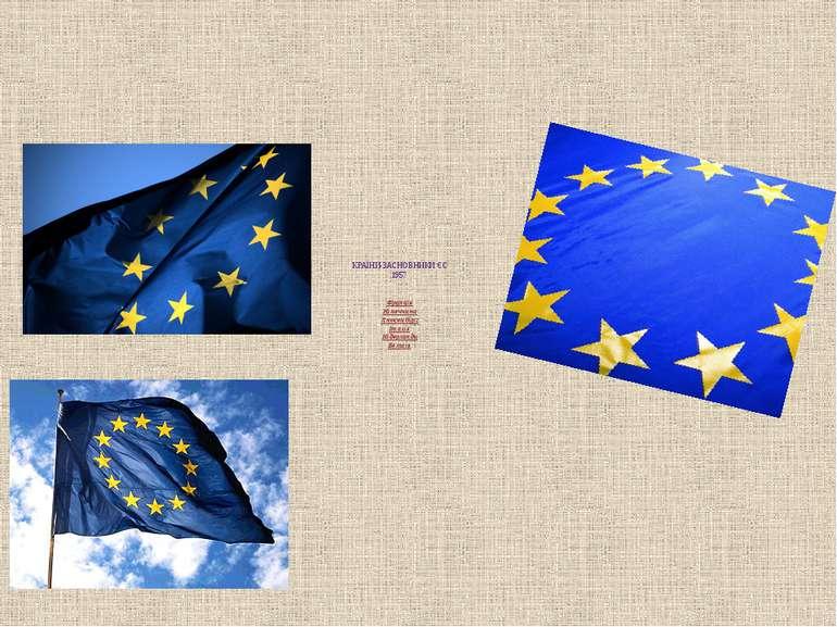 КРАЇНИ-ЗАСНОВНИКИ ЄС 1957 Франція Німеччина Люксембург Італія Нідерланди Бельгія