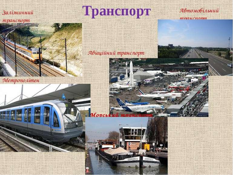 Транспорт Залізничний транспорт Метрополітен Автомобільний транспорт Авіаційн...