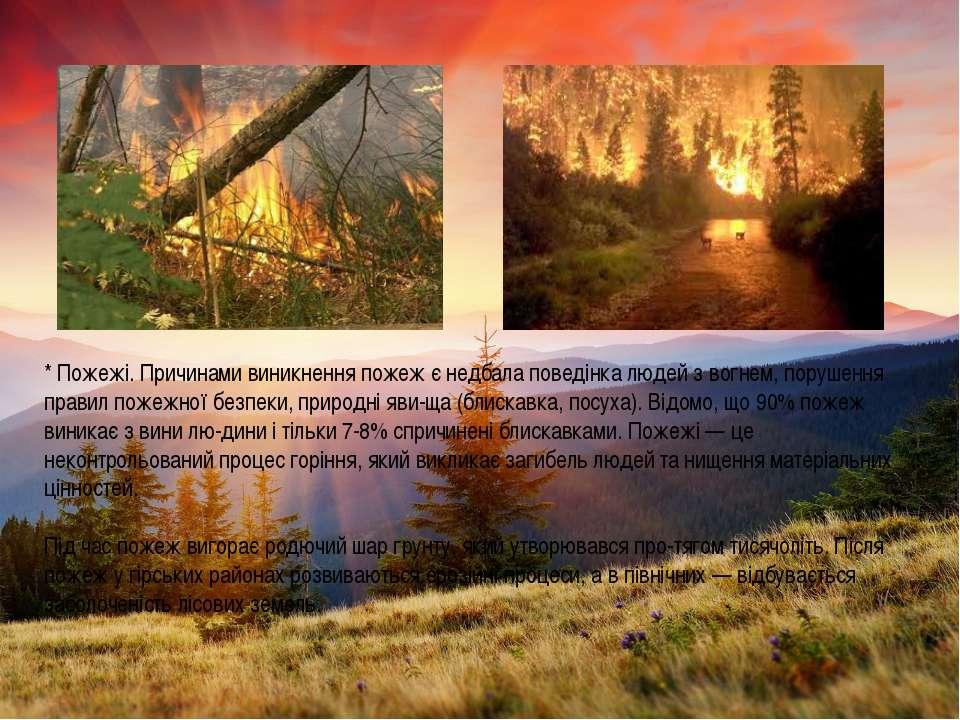 * Пожежі. Причинами виникнення пожеж є недбала поведінка людей з вогнем, пору...