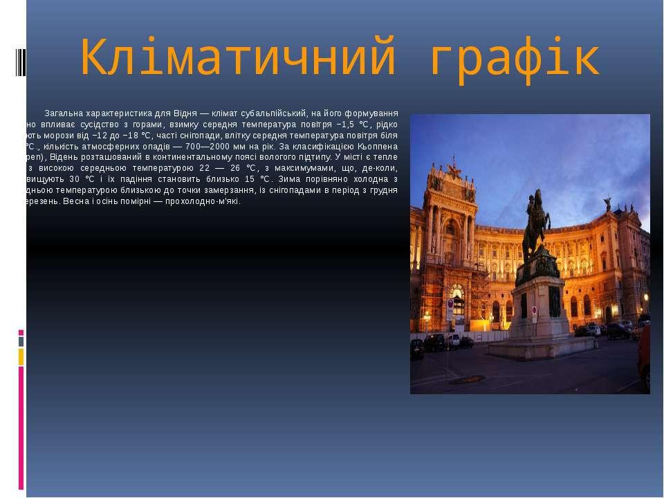 Кліматичний графік Загальна характеристика для Відня — клімат субальпійський,...