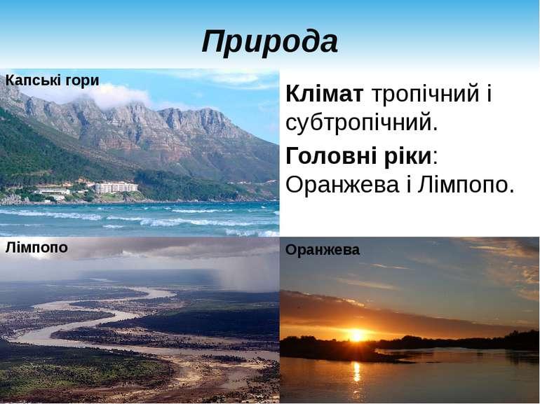 Природа Клімат тропічний і субтропічний. Головні ріки: Оранжева і Лімпопо. Ка...