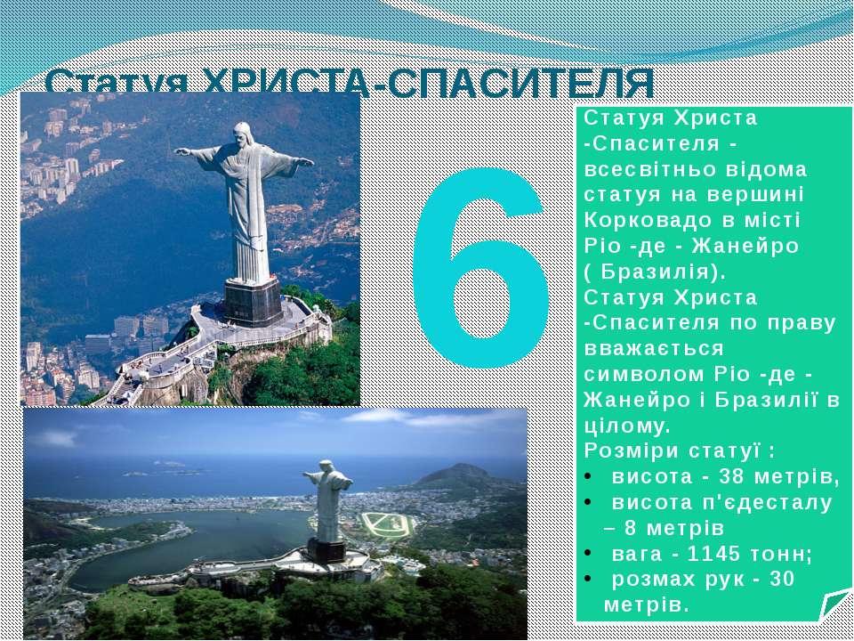 Статуя ХРИСТА-СПАСИТЕЛЯ 6 Статуя Христа -Спасителя - всесвітньо відома статуя...