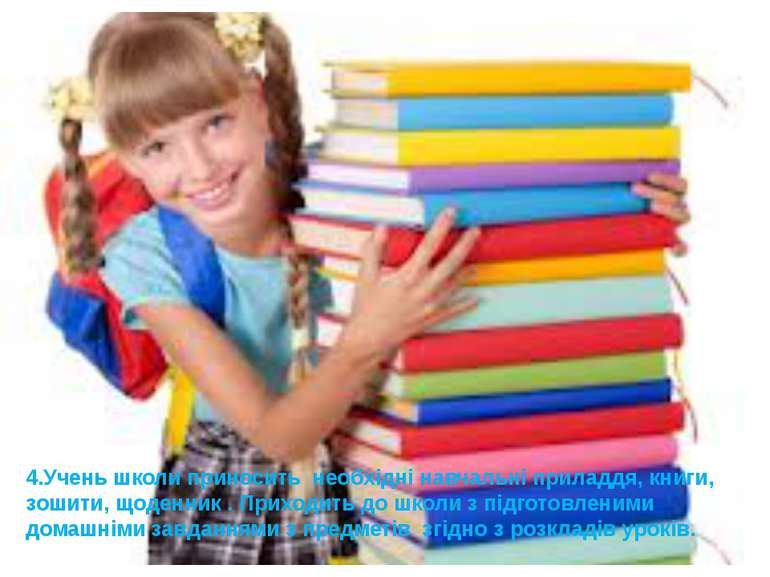 4.Учень школи приносить необхідні навчальні приладдя, книги, зошити, щоденник...