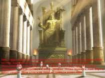 Зевс гордо сидів на розкішному троні.Частина його тіла була оголена,а інша ча...