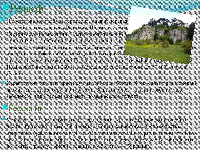 Рельєф Лісостепова зона займає територію, на якій переважають височини: із за...
