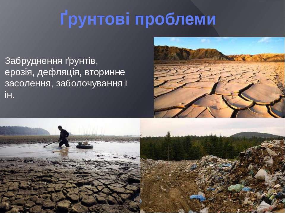 Ґрунтові проблеми Забруднення ґрунтів, ерозія, дефляція, вторинне засолення, ...