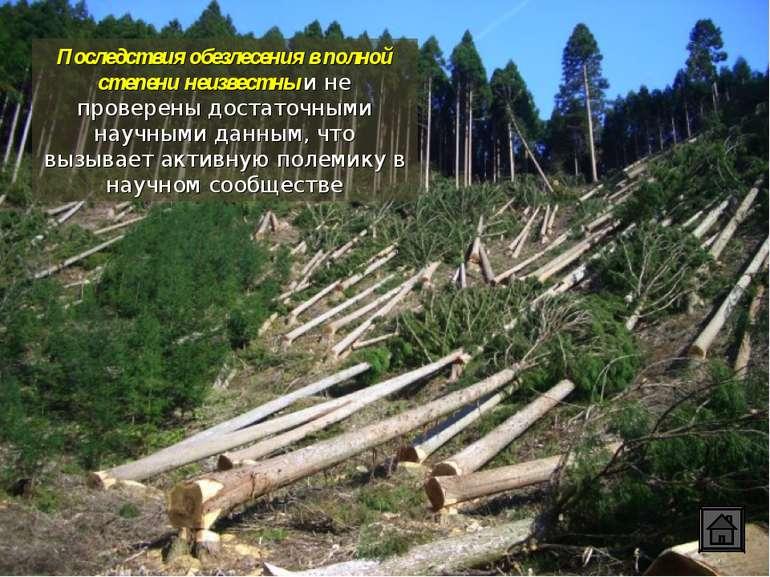 Последствия обезлесения в полной степени неизвестны и не проверены достаточны...
