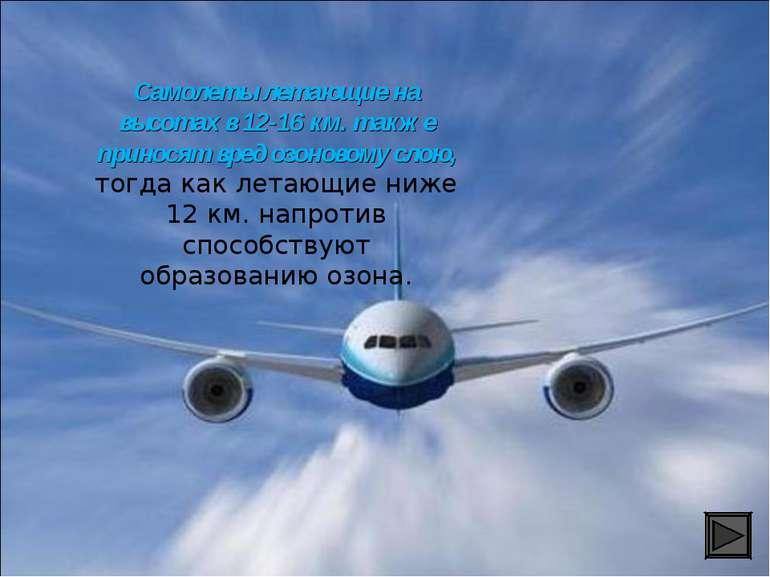 Самолеты летающие на высотах в 12-16 км. также приносят вред озоновому слою, ...