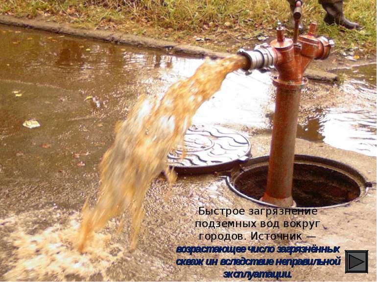 Быстрое загрязнение подземных вод вокруг городов. Источник — возрастающее чис...