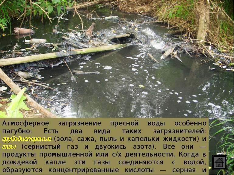 Атмосферное загрязнение пресной воды особенно пагубно. Есть два вида таких за...