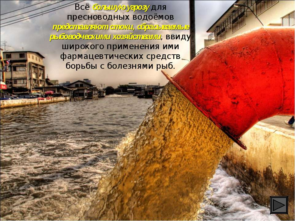 Всё большую угрозу для пресноводных водоёмов представляют стоки, сбрасываемые...