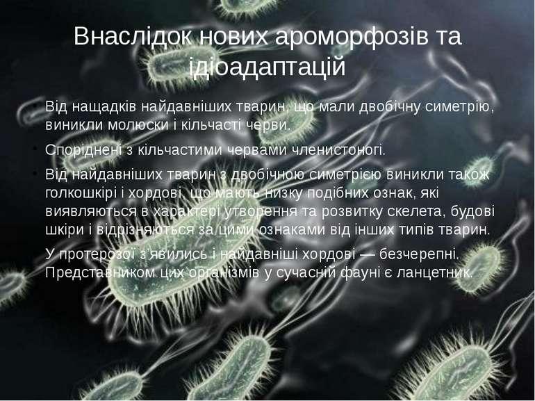Внаслідок нових ароморфозів та ідіоадаптацій Від нащадків найдавніших тварин,...