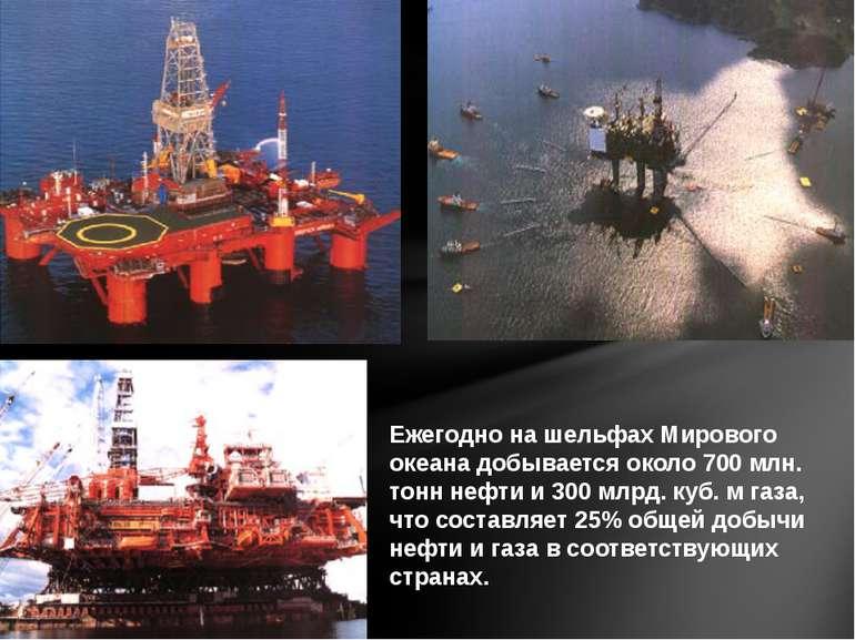 Ежегодно на шельфах Мирового океана добывается около 700 млн. тонн нефти и 30...