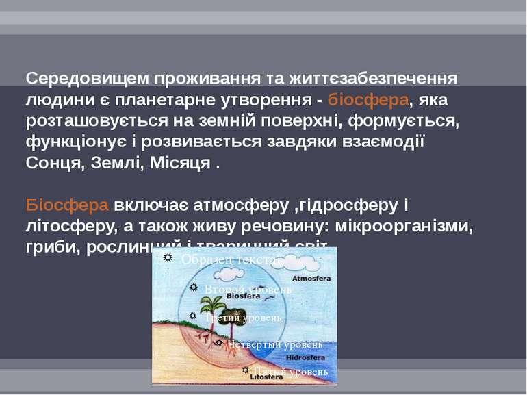 Середовищем проживання та життєзабезпечення людини є планетарне утворення - б...