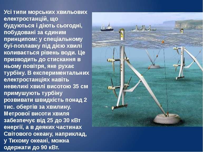 Усі типи морських хвильових електростанцій, що будуються і діють сьогодні, по...