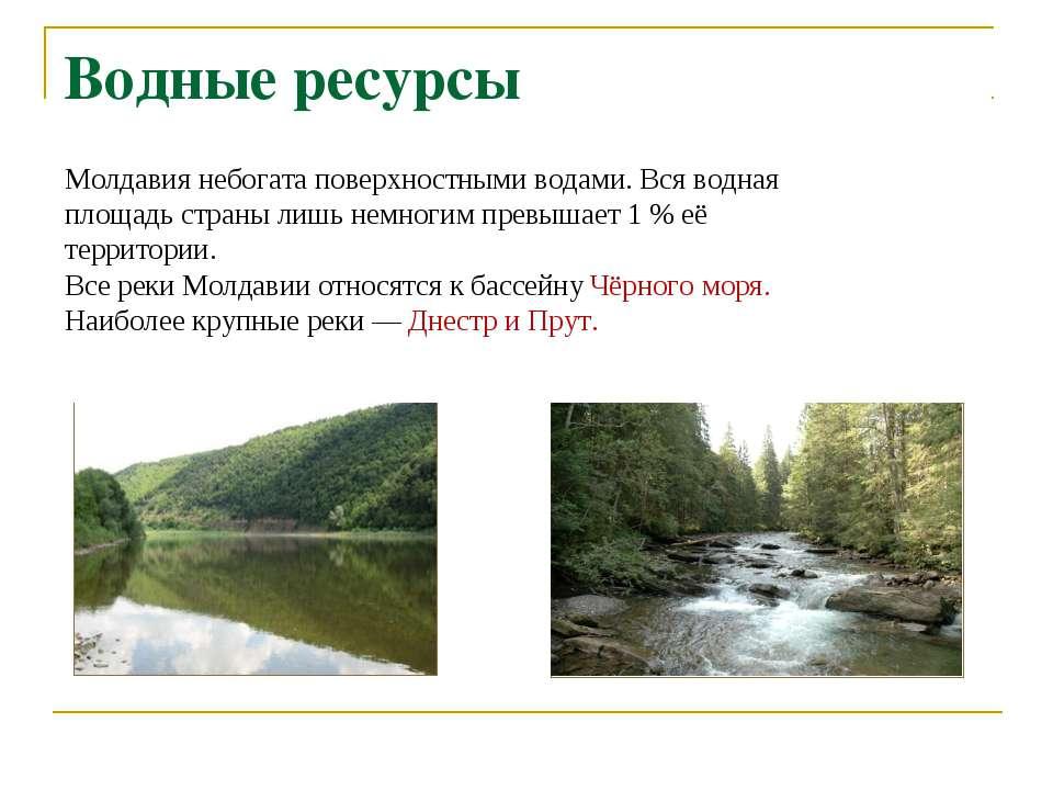 Молдавия небогата поверхностными водами. Вся водная площадь страны лишь немно...