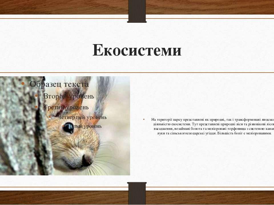 Екосистеми На території парку представлені як природні, так і трансформовані ...