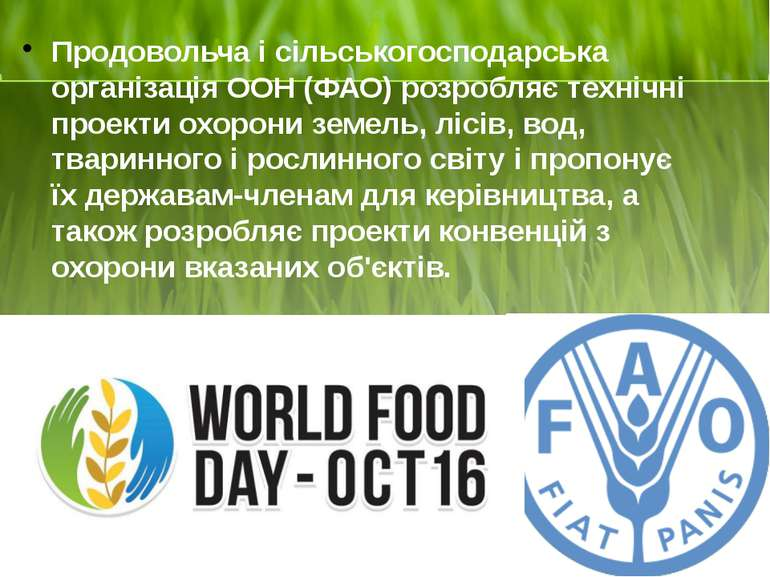 Продовольча і сільськогосподарська організація ООН (ФАО) розробляє технічні п...
