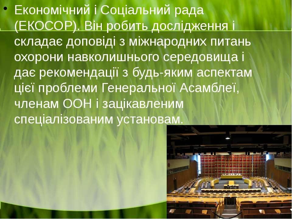 Економічний і Соціальний рада (ЕКОСОР). Він робить дослідження і складає допо...