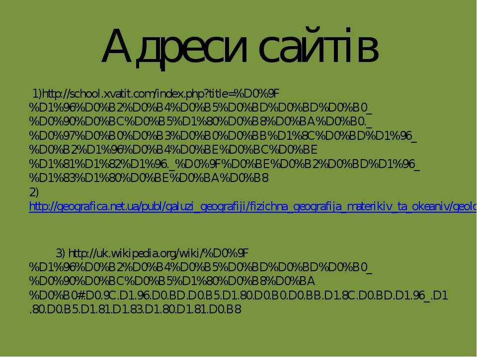 Адреси сайтів 1)http://school.xvatit.com/index.php?title=%D0%9F%D1%96%D0%B2%D...