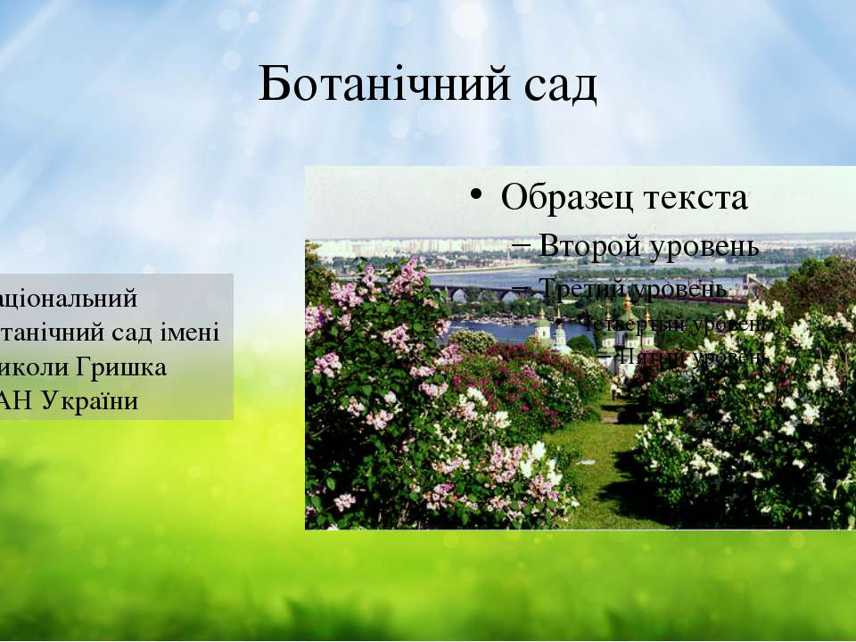 Ботанічний сад Національний ботанічний сад імені Миколи Гришка НАН України