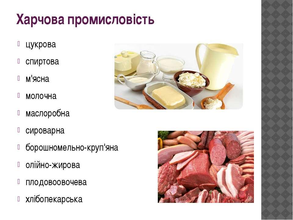 Харчова промисловість цукрова спиртова м'ясна молочна маслоробна сироварна бо...