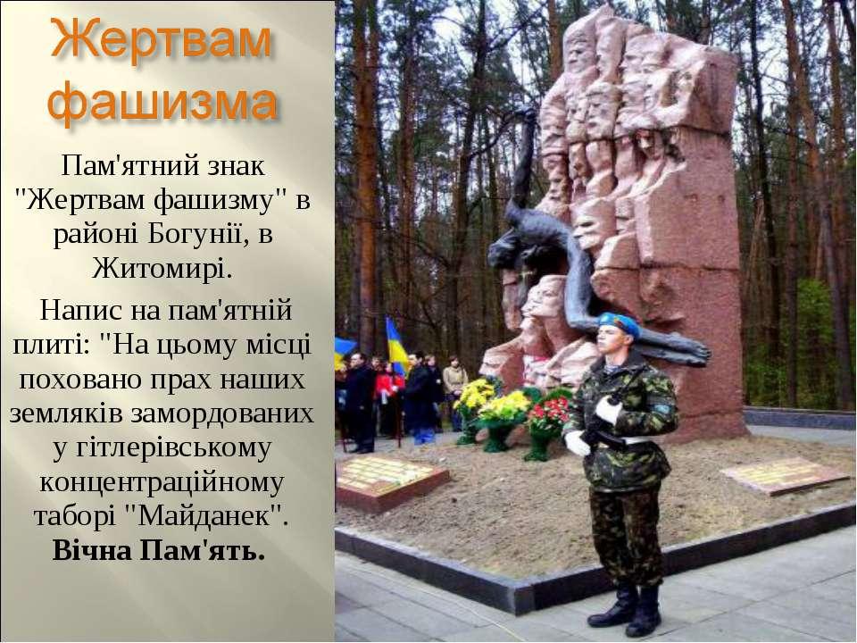 """Пам'ятний знак """"Жертвам фашизму"""" в районі Богунії, в Житомирі. Напис на пам'я..."""