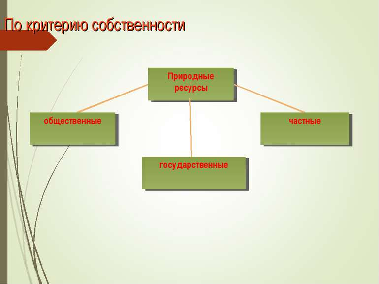 По критерию собственности Природные ресурсы общественные частные государственные