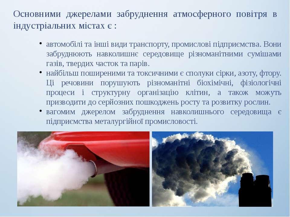 Основними джерелами забруднення атмосферного повітря в індустріальних містах ...