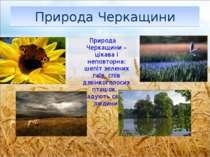 ПриродаЧеркащини Природа Черкащини –цікава і неповторна: шепіт зелених гаїв,...