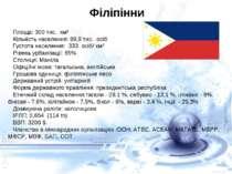 Філіпінни Площа: 300 тис. км² Кількість населення: 99,9 тис. осіб Густота на...