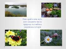 Наш край кличе всіх, кого цікавить чиста природа та глибока українська історія
