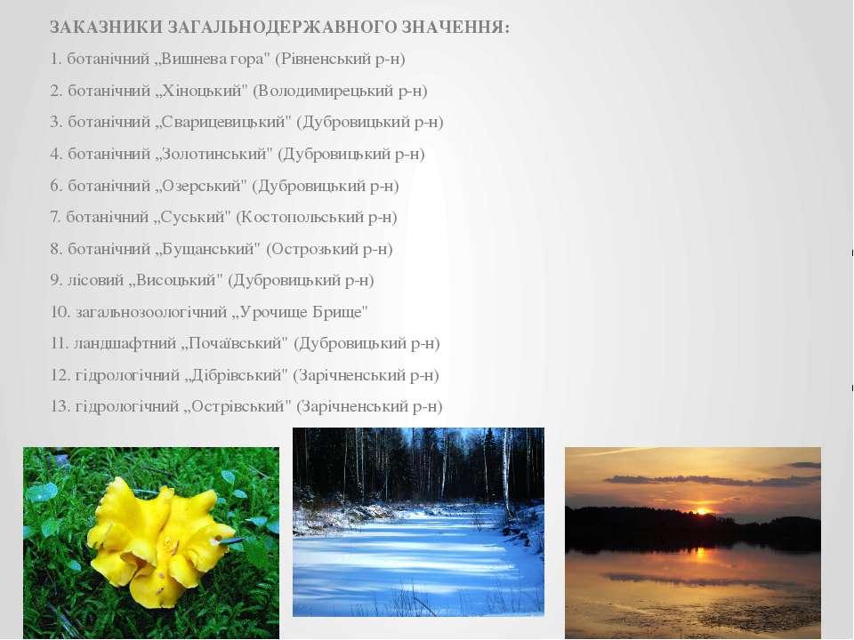"""ЗАКАЗНИКИ ЗАГАЛЬНОДЕРЖАВНОГО ЗНАЧЕННЯ: 1. ботанічний """"Вишнева гора"""" (Рівненсь..."""