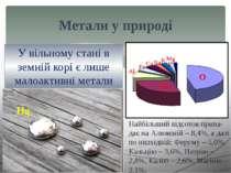 У повітрі метали містяться в сполу-ках у вигляді часточок пилу, у воді – у ро...