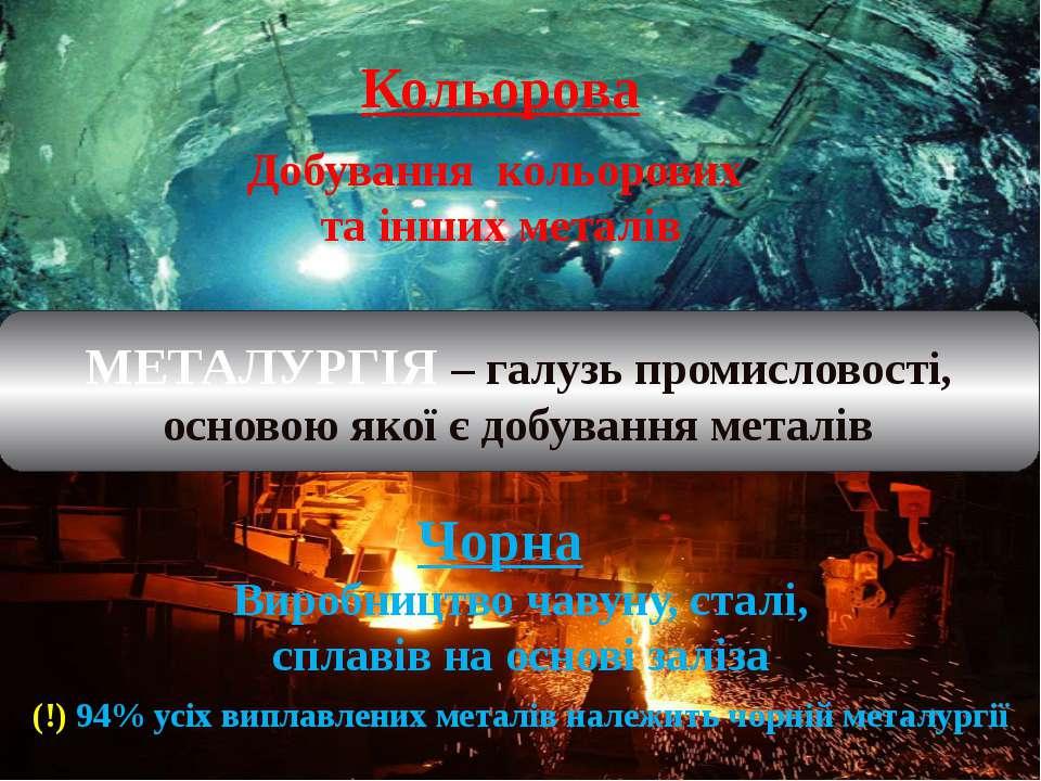 (!) 94% усіх виплавлених металів належить чорній металургії МЕТАЛУРГІЯ – галу...