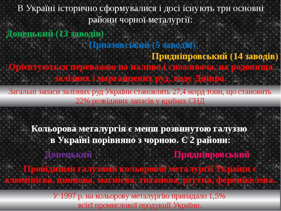 В Україні історично сформувалися і досі існують три основні райони чорної мет...